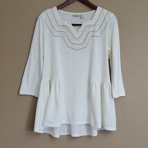 LOGO by Lori Goldstein Embroidered Tunic Top